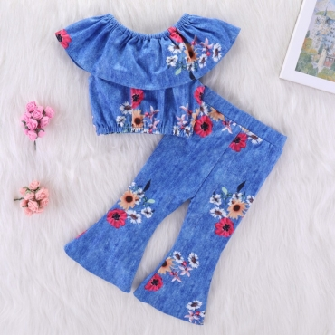 Lovely Stylish Print Blue Girl Two-piece Pants Set