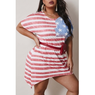 Lovely Casual O Neck Striped Red Mini Plus Size Dress
