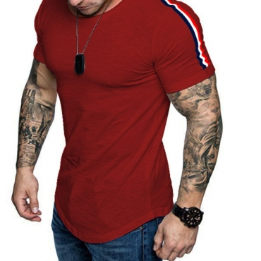 Lovely Sportswear Patchwork Red T-shirt