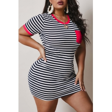 Lovely Casual O Neck Striped Black Mini Plus Size Dress