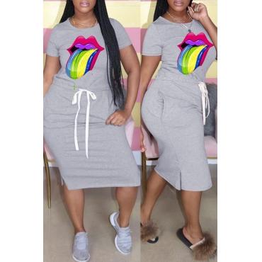 Lovely Casual Lip Print Light Grey Knee Length Dress