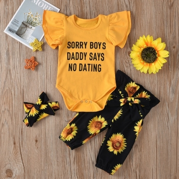 Lovely Sweet Letter Print Yellow Girl Two-piece Pants Set