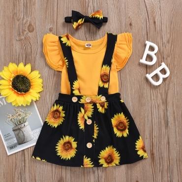 Lovely Sweet Sunflower Print Yellow Girl Two-piece Skirt Set