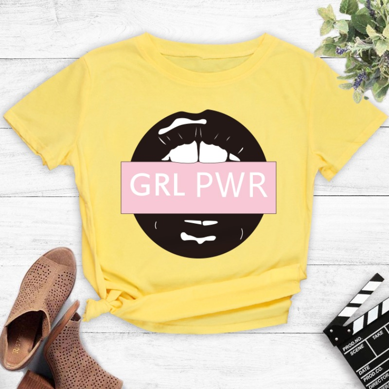 Lovely Leisure O Neck Lip Print Yellow T-shirt фото