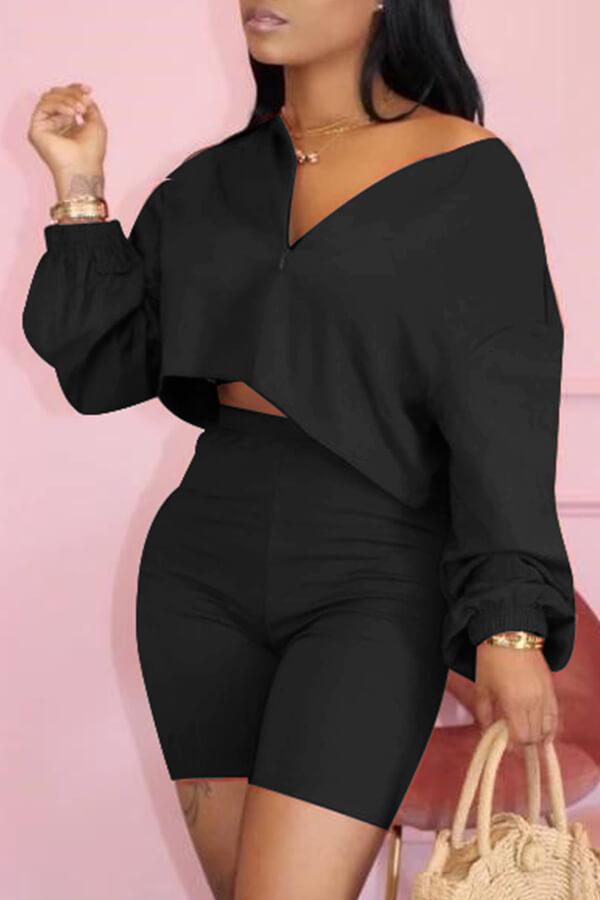 Lovely Zipper Design Black Shorts Set
