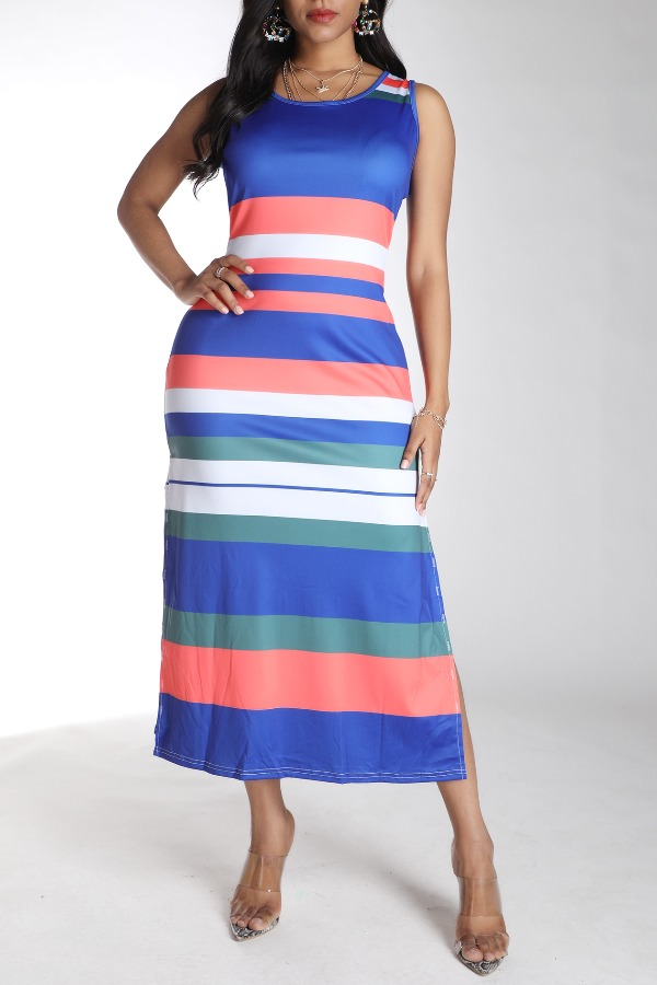 Daily Dress Lovely Sexy Striped Royalblue Ankle Length Dress фото