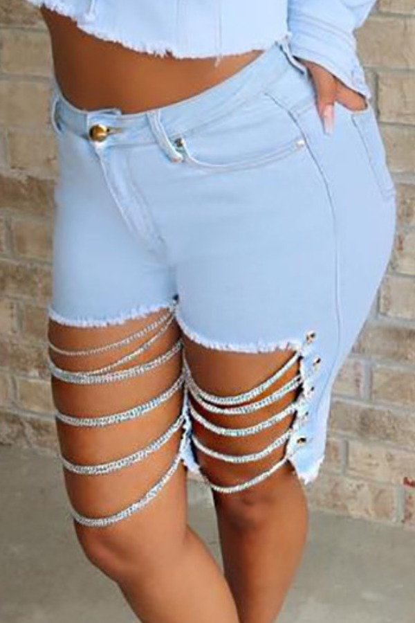 Lovely Trendy Hollow-out Baby Blue Plus Size Shorts