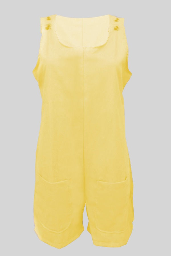 Lovely Casual Pocket Patched Yellow Plus Size One-piece Romper