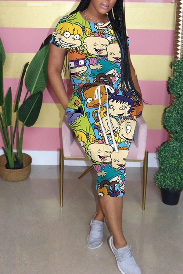 Lovely Casual Cartoon Print Blue Knee Length Dress