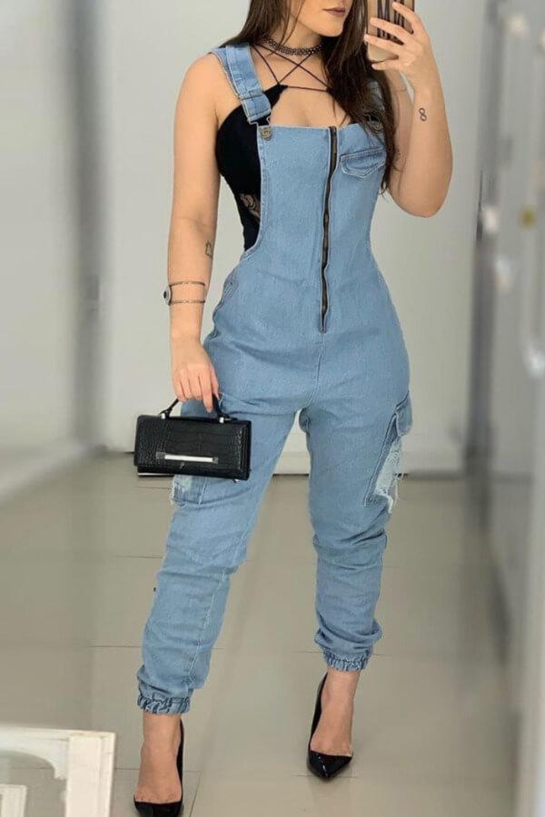 Lovely Stylish Zipper Design Baby Blue One-piece Jumpsuit