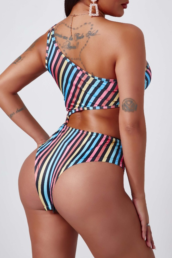 Lovely Sexy Striped MulticolorBodysuit