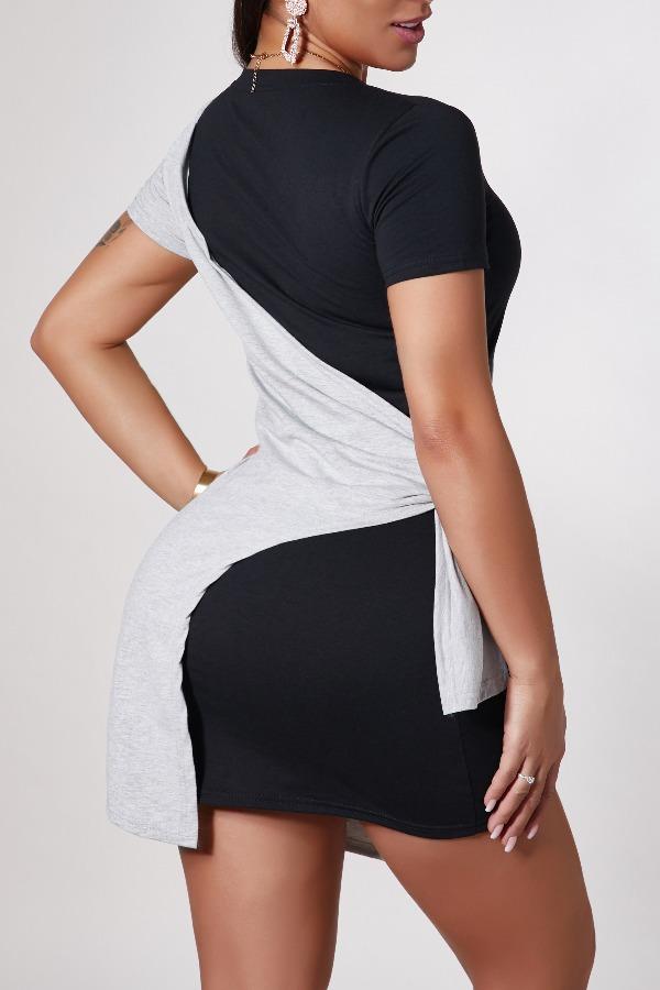 Lovely Leisure Patchwork Black Mini Dress