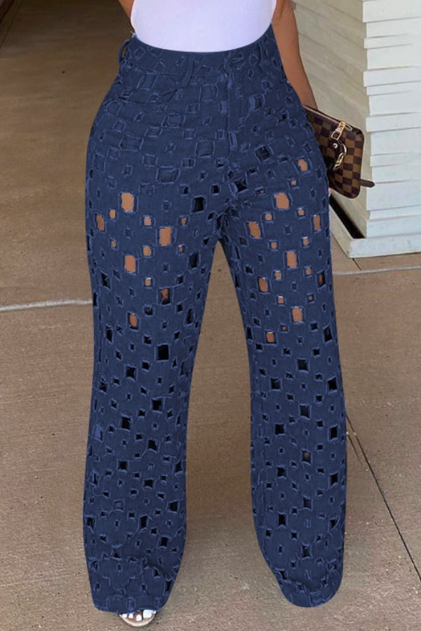 Lovely Trendy Hollow-out Deep Blue Jeans