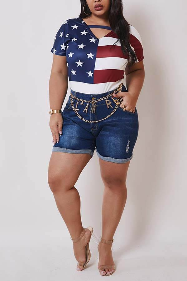 Lovely Casual Broken Holes Deep Blue Plus Size Shorts