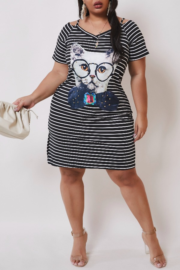 lovely Casual Striped Print Knee Length Plus Size Dress