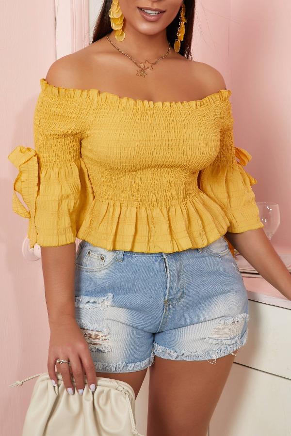 lovely Trendy Fold Design Yellow Blouse