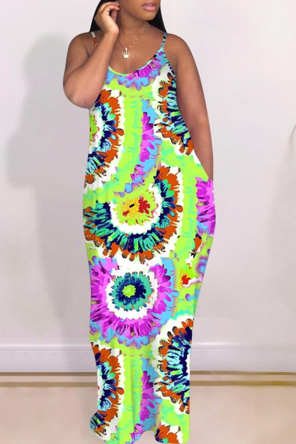 lovely Bohemian Tie-dye Multicolor Maxi Dress