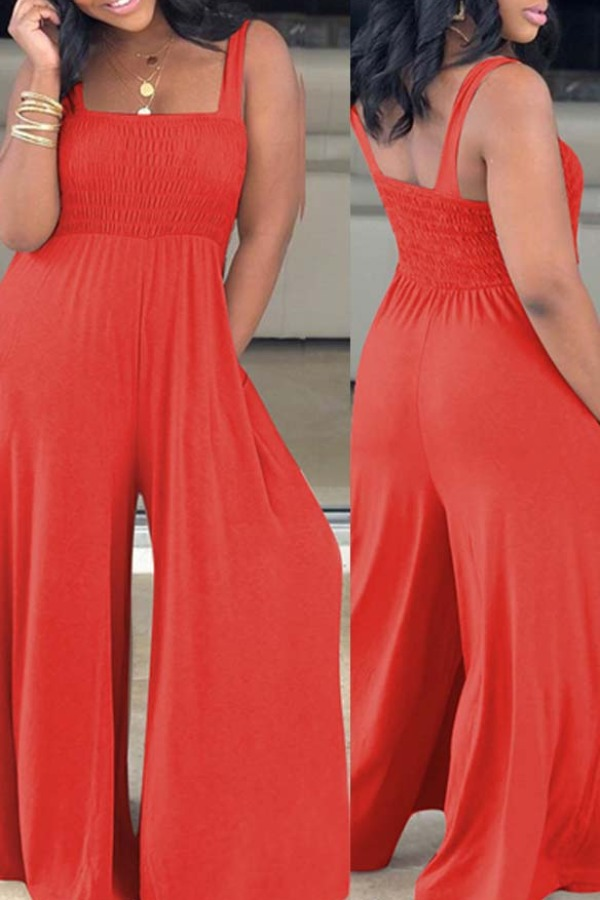 Lovely Casual Loose Red One-piece Jumpsuit фото