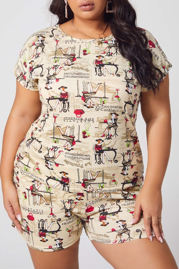 Lovely Casual O Neck Print Apricot Plus Size Two-piece Shorts Set