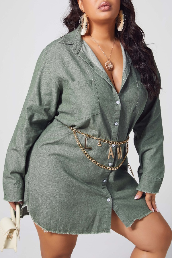 lovely Casual Buttons Design Army GreenPlus Size Coat