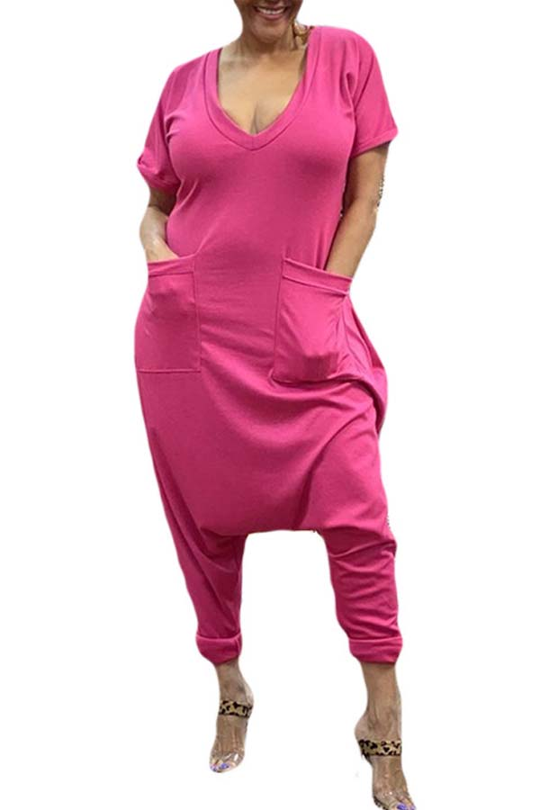 Lovely Leisure Pocket Patched Rose One-piece Jumpsuit фото