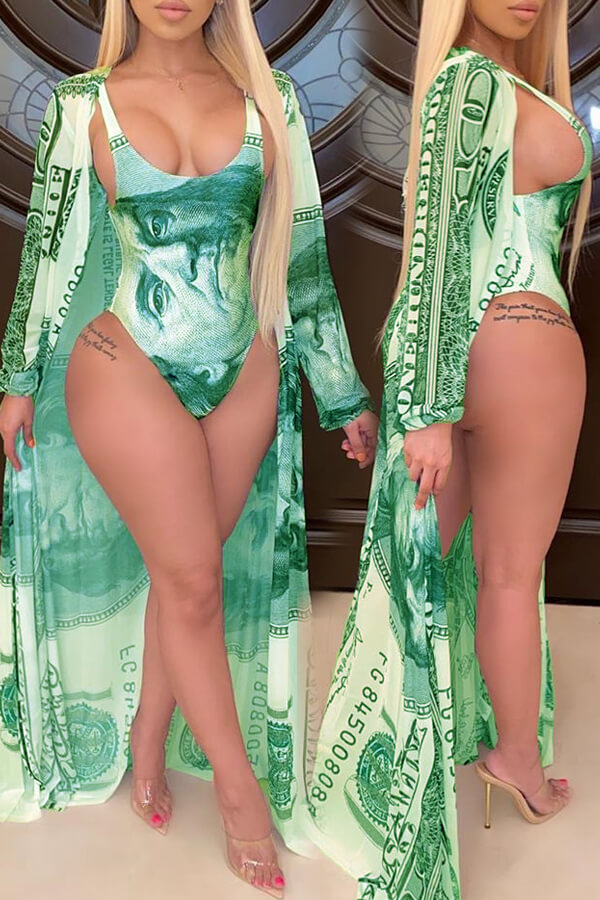 lovely Print Green One-piece Swimsuit(With Cover-up)