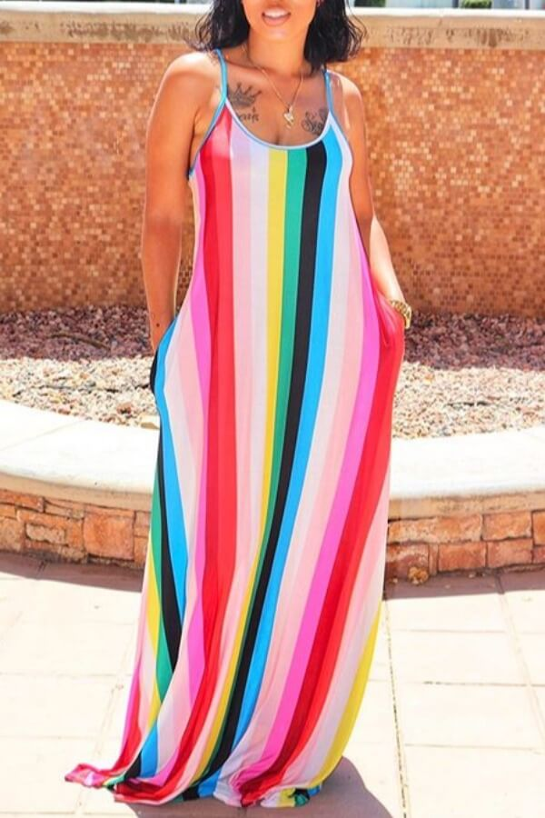 Lovely Casual Striped Multicolor Maxi Dress фото