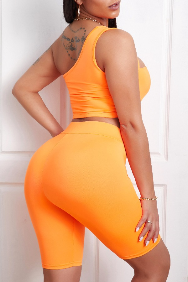 lovely Sportswear Hollow-out Orange Two-piece Shorts Set