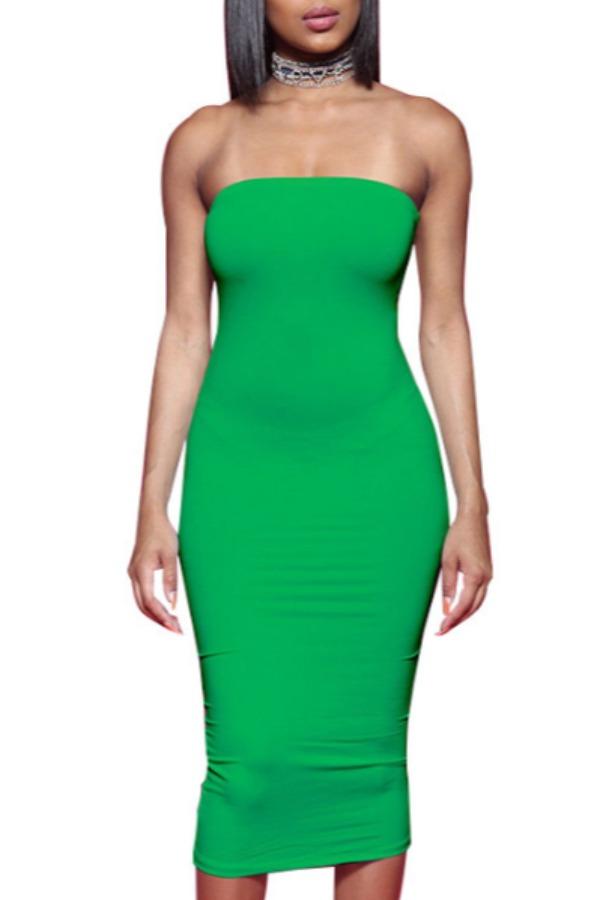 Lovely Trendy Dew Shoulder Green Mid Calf Dress фото