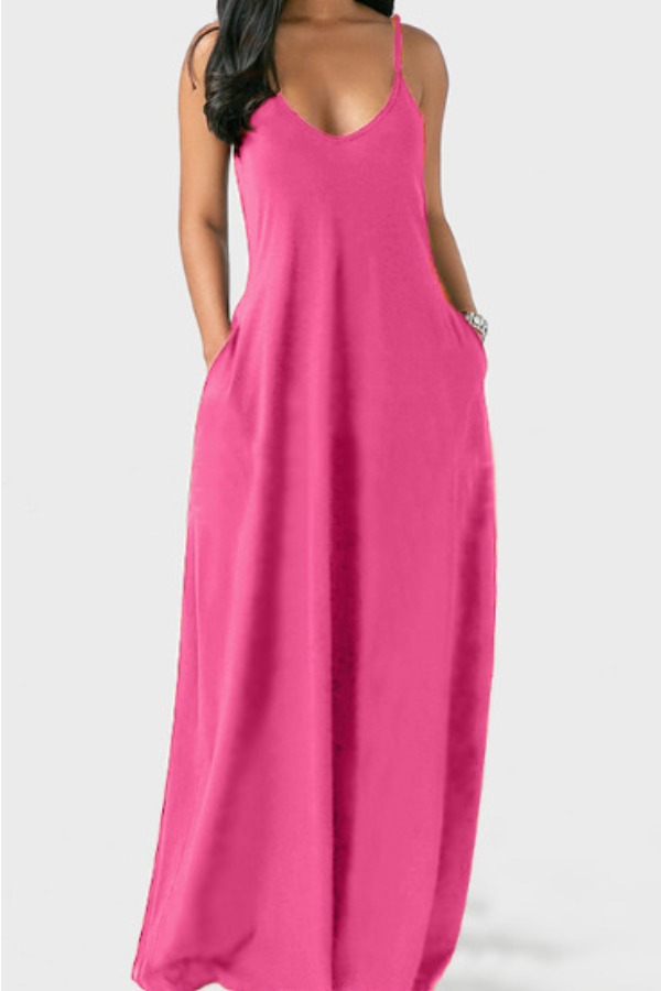 Lovely Leisure Pocket Patched PinkMaxi Plus Size Dress фото