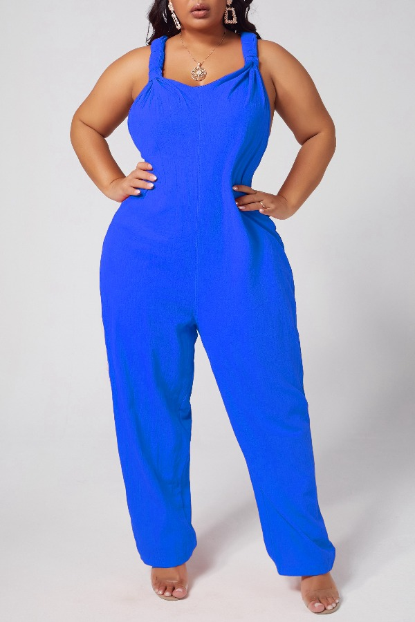 Lovely Leisure Loose Blue One-piece Jumpsuit фото