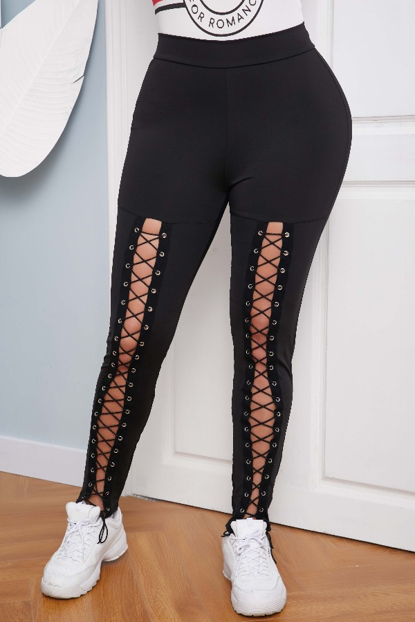 lovely Sportswear Bandage Design Black Pants