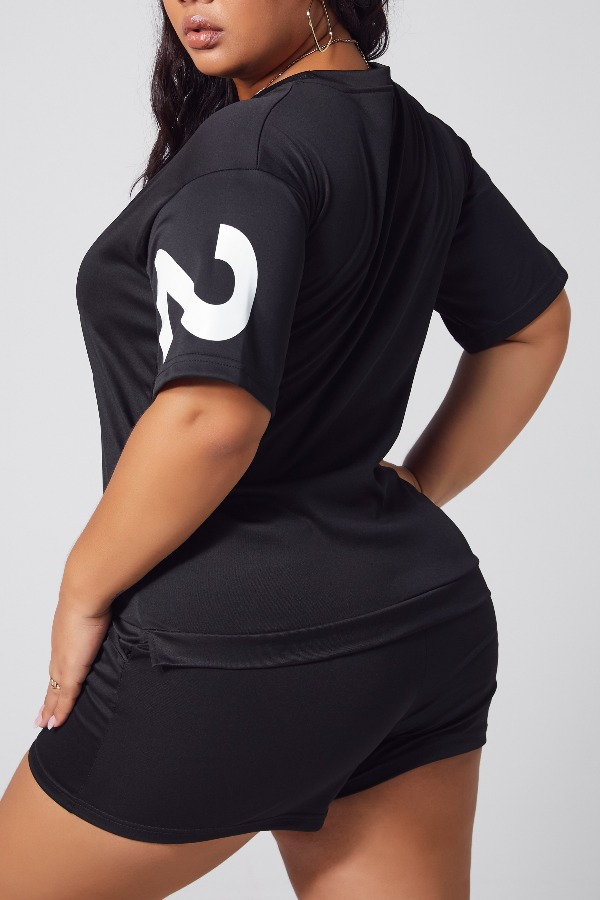 Lovely Leisure O Neck Letter Black Plus Size Two-piece Shorts Set