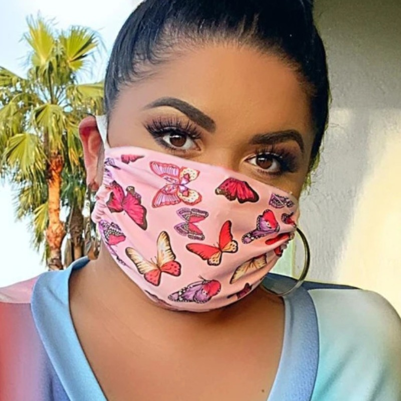 Lovely Stylish Butterfly Print Pink Face Mask фото
