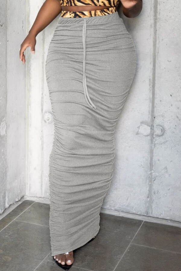Skirts lovely Casual Fold Design Grey Skirt фото