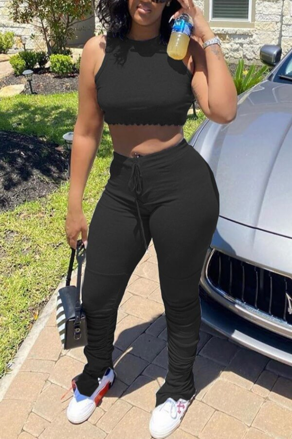 Lovely Casual Fold Design Black Two-piece Pants Set фото