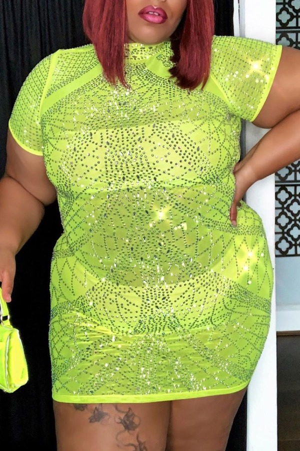 lovely Casual See-through GreenMini Plus Size Dress