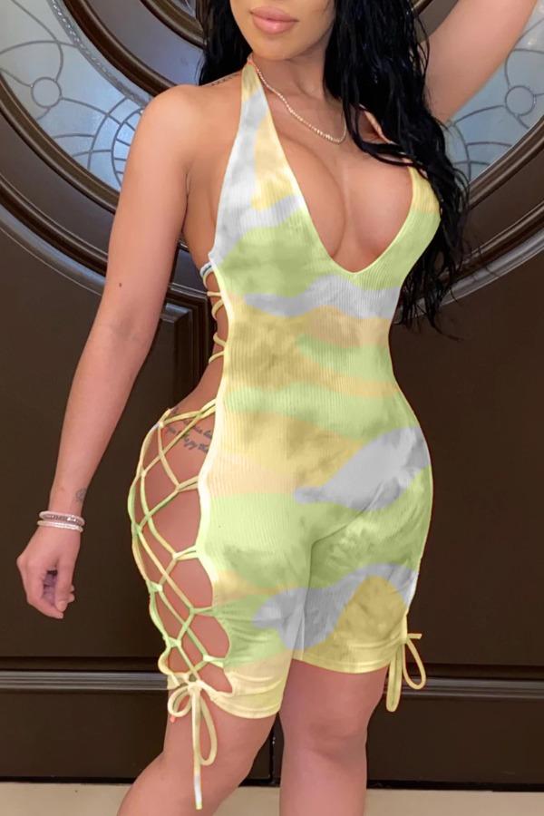 lovely Sexy Tie-dye Bandage Design Green One-piece Romper