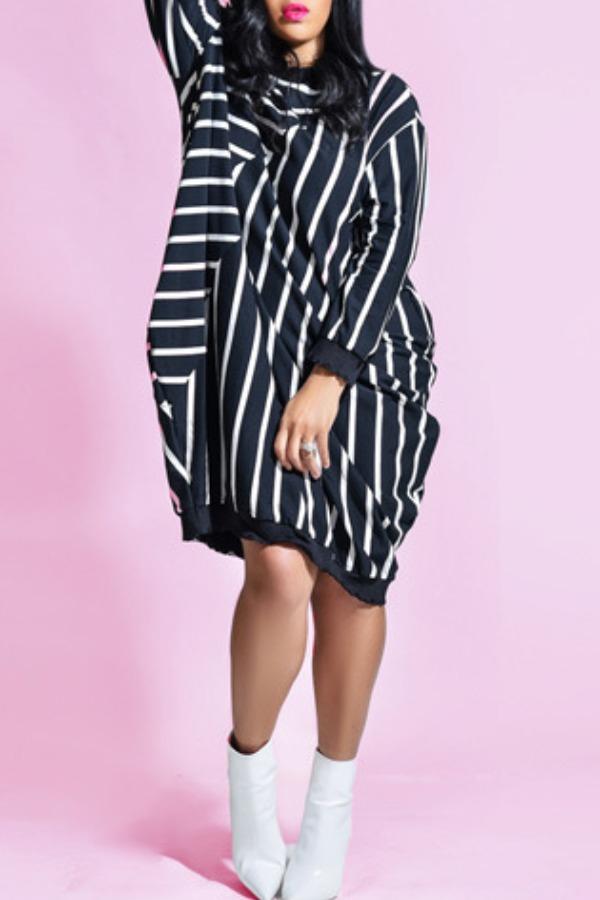 lovely Leisure O Neck Striped Black Knee Length Dress