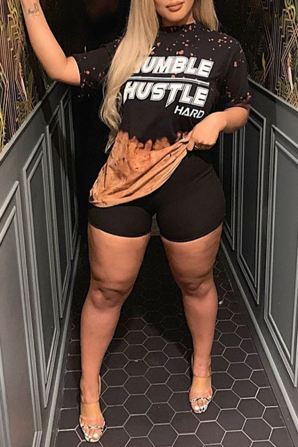 lovely Casual O Neck Letter Print Black Plus Size Two-piece Shorts Set