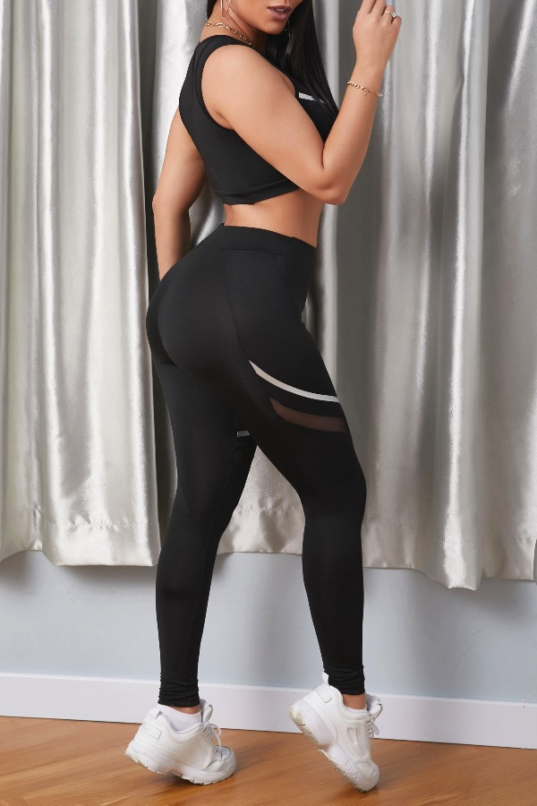 lovely Sportswear Patchwork Black Two-piece Pants Set