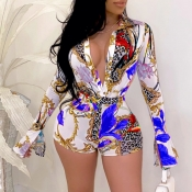 Lovely Trendy Print Blue One-piece Romper