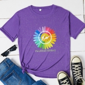 Lovely Casual O Neck Print Purple T-shirt