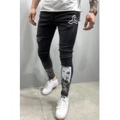 Lovely Stylish Print Black Jeans
