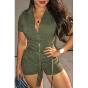 Lovely Casual Zipper Design Army Green One-piece Romper