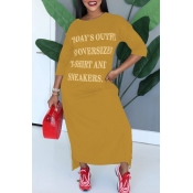 Lovely Casual Letter Yellow Ankle Length Dress