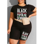 Lovely Casual Letter Print Black Plus Size Two-piece Shorts Set