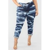 Lovely Trendy Tie-dye Blue Plus Size Jeans