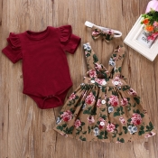 Lovely Stylish Print Wine Red Girls Two-piece Skir