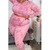 Lovely Sexy Tie-dye Pink Plus Size Two-piece Pants